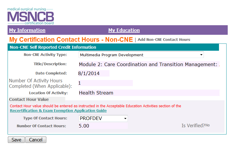 Contact Hour Activities | MSNCB